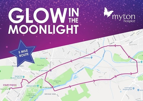 The Myton Hospices - Glow in the Moonlight Route Map 5 Mile Route Smaller
