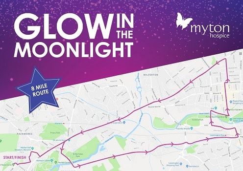 The Myton Hospices - Glow in the Moonlight Route Map 8 Mile Route
