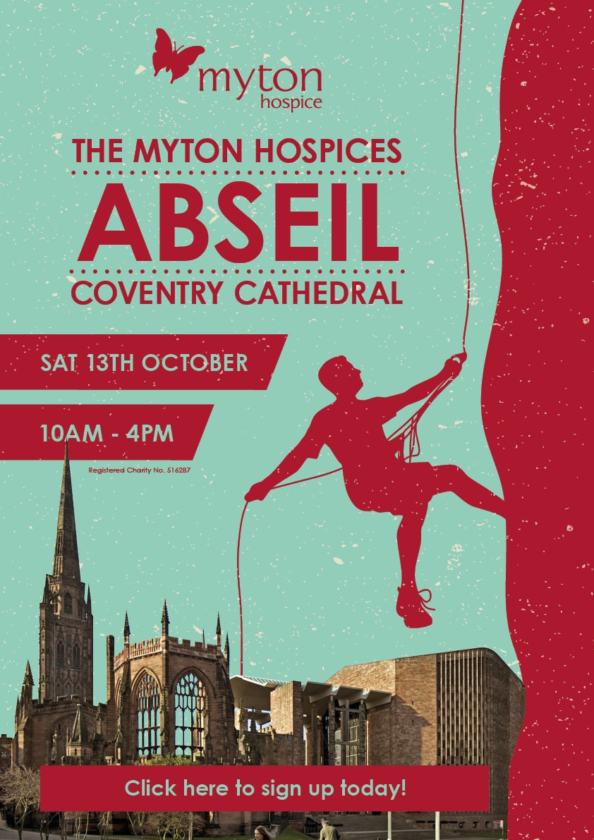 The Myton Hospices - Coventry Cathedral abseil 2018- Channel Image (150 dpi) -2 Poster A3 Inhouse-min