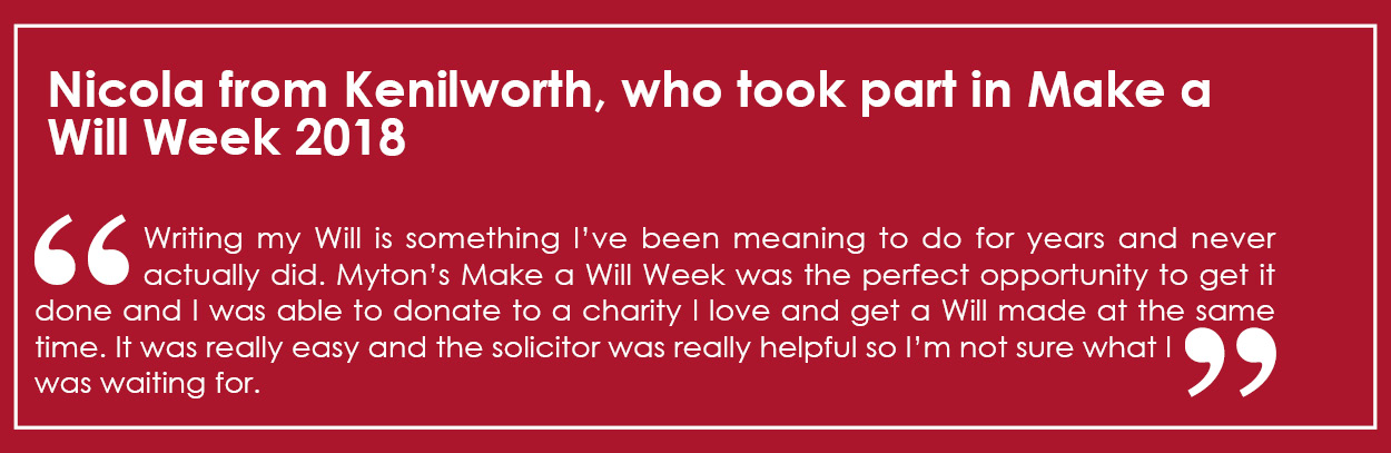 The Myton Hospices - MAWW - Make a Will Week - Mid page Banner 2019