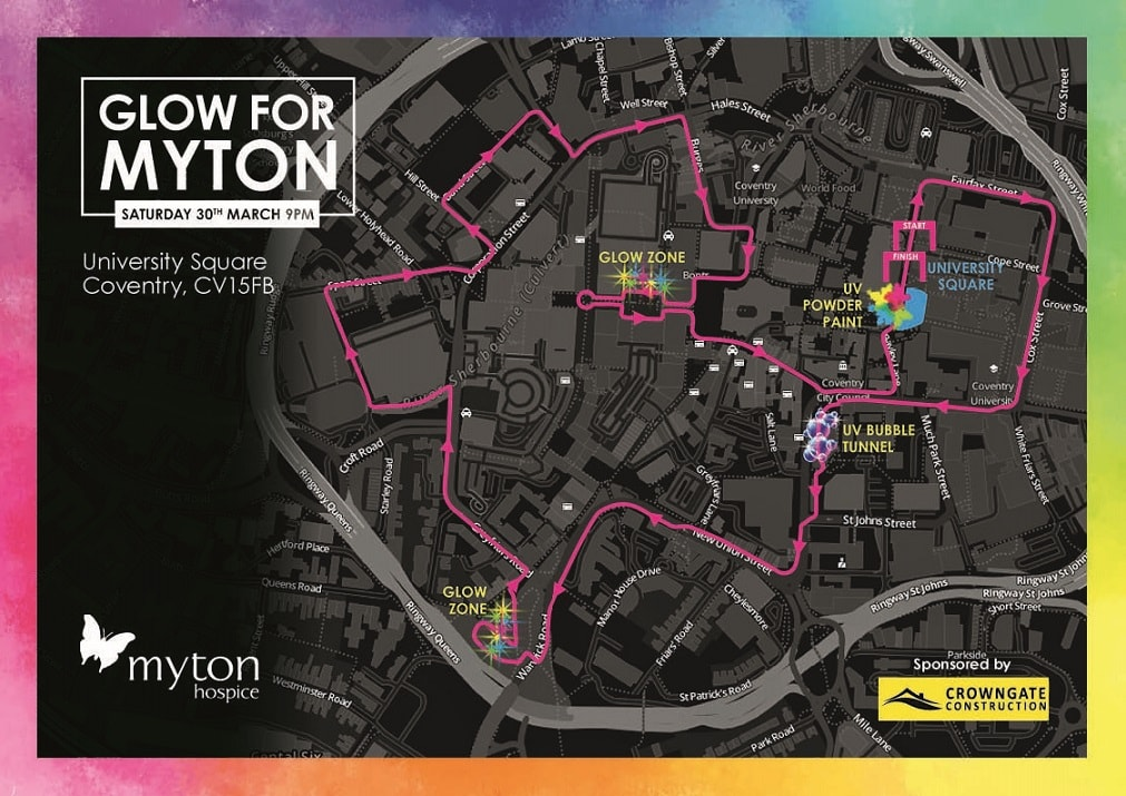 The Myton Hospices - Glow for Myton 2019 - Route Map