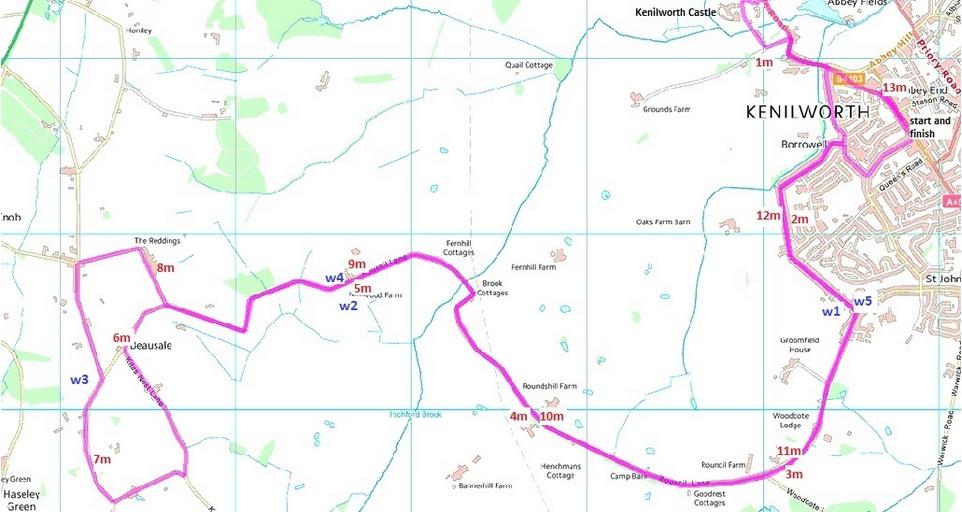 Route Map - Kenilworth Half Marathon - The Myton Hospices