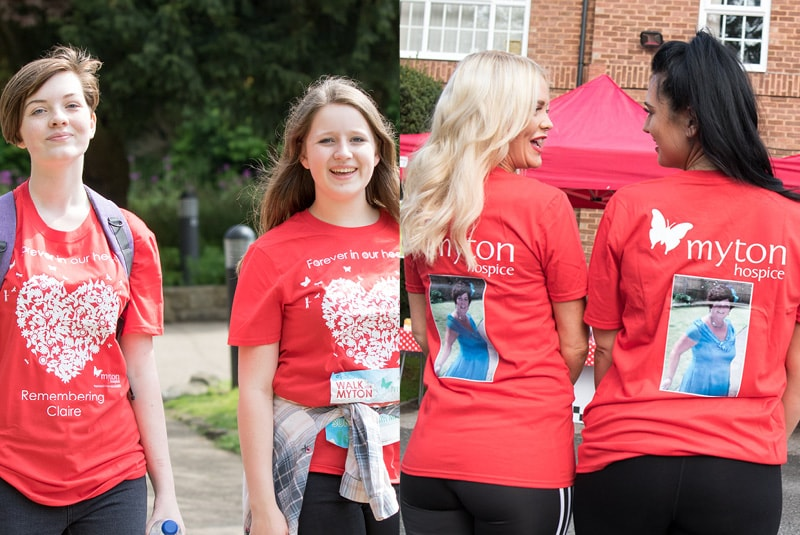 The Myton Hospices - Walk For Myton - In memory T-shirts Front and Back