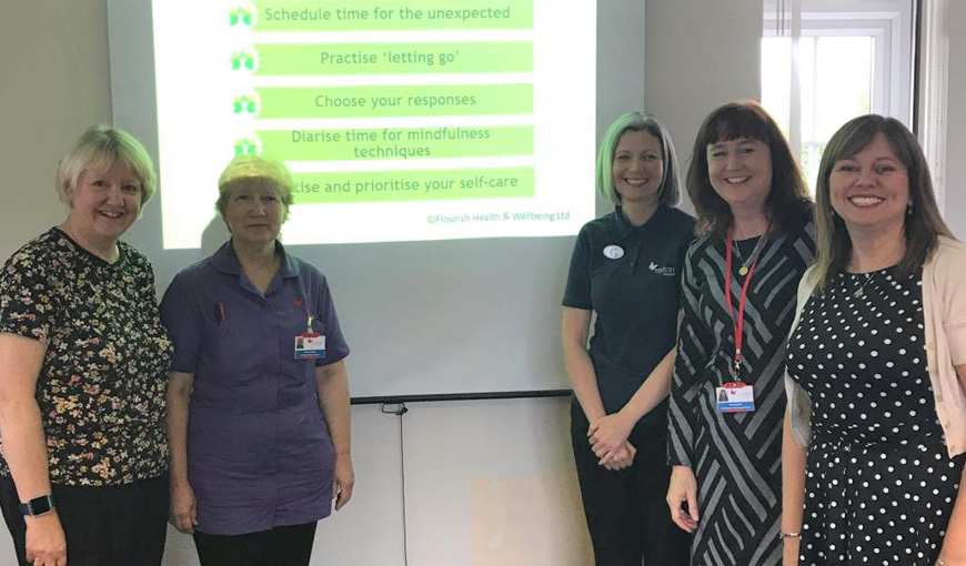 Lorraine Checklin - Flourish Health & Wellbeing - The Myton Hospices - Warwickshire - Coventry - Leamington Spa - Rugby - Health and Wellbeing Week 2019