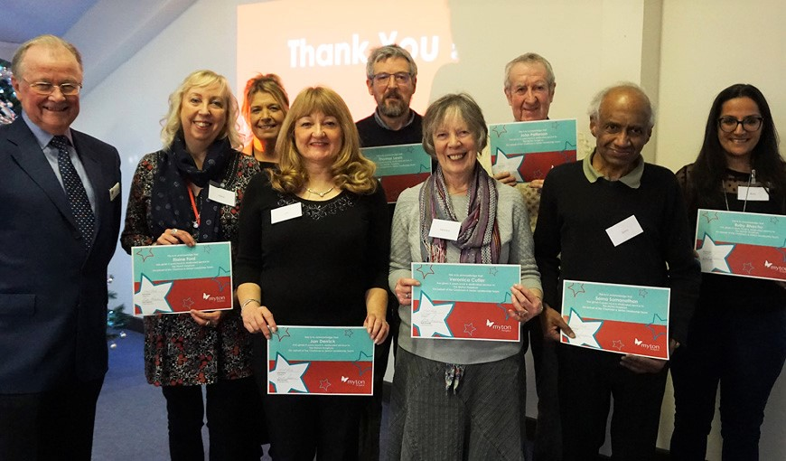 Long Service Awards - Volunteering - The Myton Hospices - Warwickshire - Coventry - Rugby - Leamington Spa - Volunteers