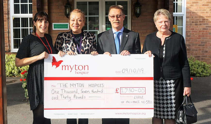 Lodge of Alliance no.5811 - The Myton Hospices - Warwickshire - Coventry - Rugby - Leamington Spa - Fundraising