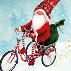 Cycling Gnome Snowman - Christmas Cards - The Myton Hospices