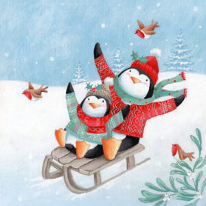 Penguin Toboggan - Christmas Cards - The Myton Hospices